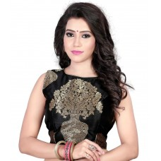 Kuvarba Fashion Black Jacquard Work Readymade Saree Blouse