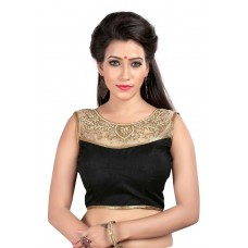 Kuvarba Fashion Black Banglori Silk Handwork Designer Blouse