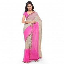 Viva N Diva Beige And Pink Colored Georgette Printed Saree.
