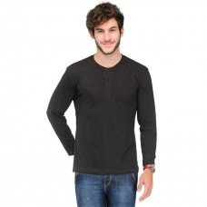 VAN GALIS FASHION WEAR BLACK HENLEY T-SHIRT FOR MEN