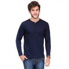VAN GALIS FASHION WEAR BLUE HENLEY T-SHIRT FOR MEN